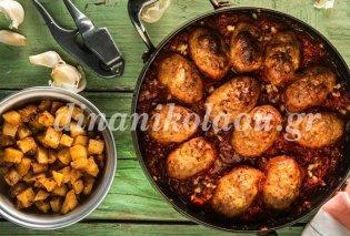 Σουτζουκάκια κοτόπουλου με πατάτες καρέ και σκορδοπαπρικάτες - Κυρίως Φωτογραφία - Gallery - Video
