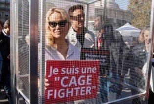 Μια μάχιμη φιλόζωος η Πάμελα Άντερσον: Κλείστηκε σε κλουβί για να καταγγείλει τον βασανισμό των ζώων - Κυρίως Φωτογραφία - Gallery - Video