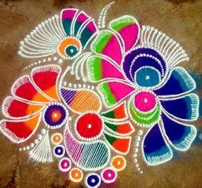 Φοβερό βίντεο:  Rangoli - Η τέχνη της παραδοσιακής Ινδίας που διακοσμεί με χρώμα & ζωντάνια!  - Κυρίως Φωτογραφία - Gallery - Video