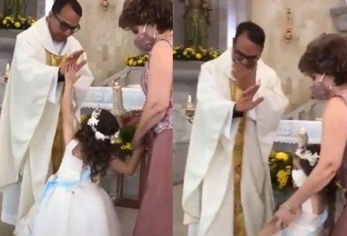 """Απολαυστικό βίντεο: Ο ιερέας πάει να ευλογήσει 5χρονο κοριτσάκι & εκείνη του κάνει... """"κόλλα πέντε"""" - Γέλια στην εκκλησία - Κυρίως Φωτογραφία - Gallery - Video"""
