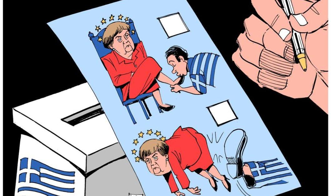 Η Telegraph και η γελοιογραφία της για τις ελληνικές εκλογές: Κλωτσιά στην Μέρκελ έδωσαν οι Έλληνες! (σκίτσο) - Κυρίως Φωτογραφία - Gallery - Video