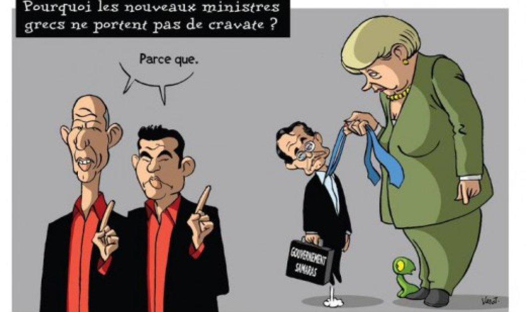 Smile: Το σκίτσο L' echo απαντάει στα ερωτηματικά γιατί η Κυβέρνηση Τσίπρα δεν φοράει γραβάτες! - Κυρίως Φωτογραφία - Gallery - Video