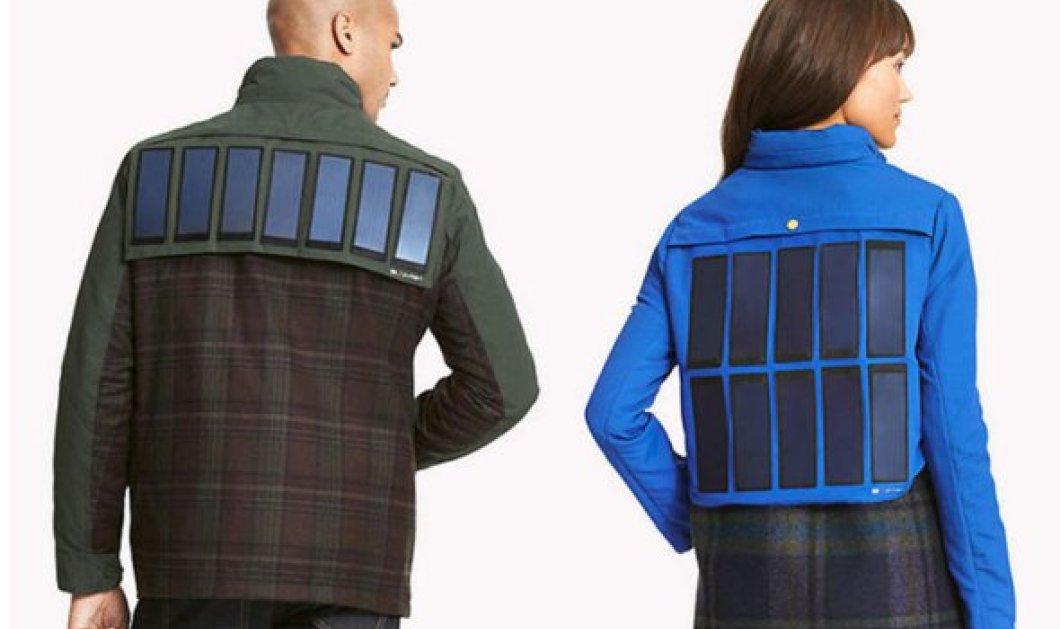 Πανωφόρι με ηλιακούς συλλέκτες για φόρτιση του smartphone σου από τον Tommy Hilfiger - Κυρίως Φωτογραφία - Gallery - Video