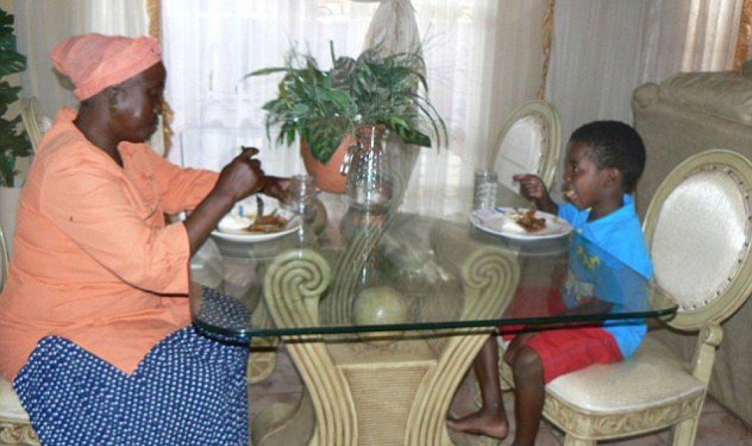 Οι φωτογραφίες από τον έγγαμο βίο του 8 χρονου που παντρεύτηκε μια γυναίκα 61 ετών γιατί έτσι ήθελαν οι πρόγονοι του ...... ( το ζεύγος στην τραπεζαρία του) - Κυρίως Φωτογραφία - Gallery - Video