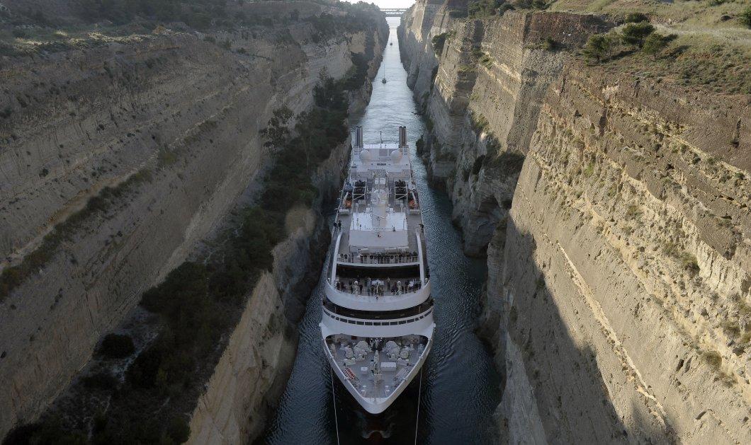 Κόρινθος: Εντυπωσιακή διέλευση κρουαζιερόπλοιου από τον Ισθμό - υπέροχες εικόνες - Κυρίως Φωτογραφία - Gallery - Video