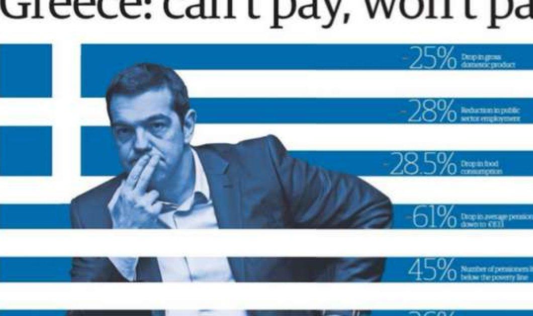 Πρωτοσέλιδο η Ελλάδα στον Guardian: ''Δεν μπορεί να πληρώσει, δεν θα πληρώσει'' - Κυρίως Φωτογραφία - Gallery - Video