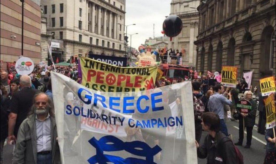 Μεγάλη διαδήλωση στο Λονδίνο υπερ της Ελλάδας- υπέρ του ΣΥΡΙΖΑ κατά της λιτότητας - Κυρίως Φωτογραφία - Gallery - Video