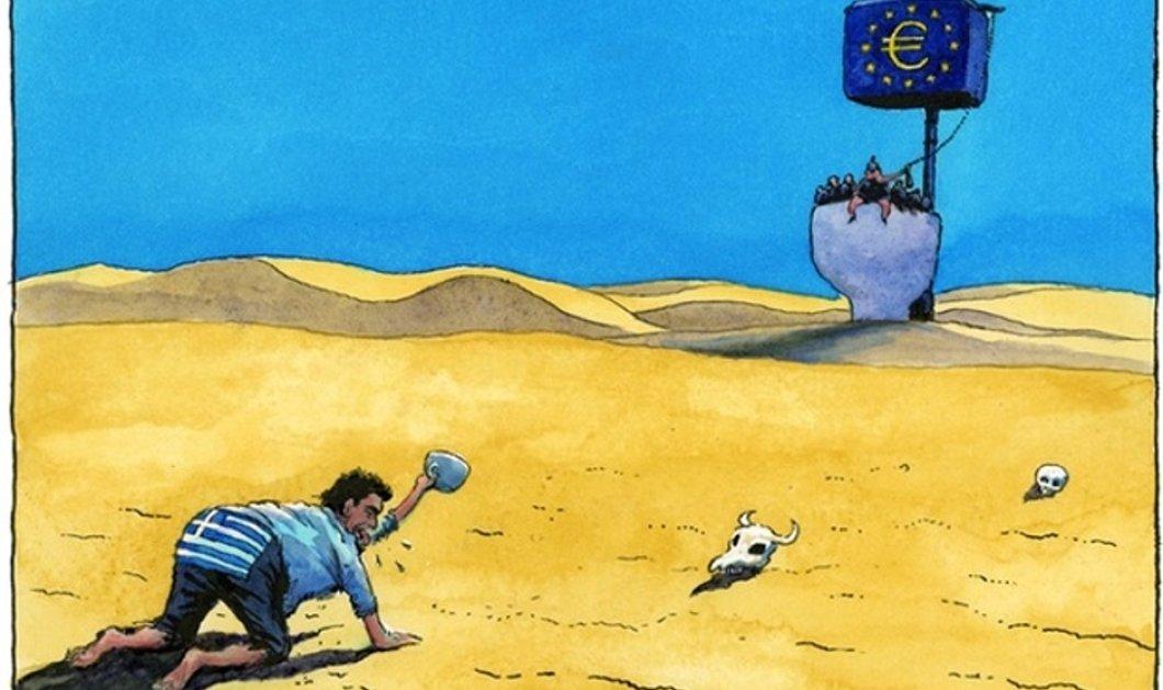 Το αιχμηρό σκίτσο του Guardian: Ο εξαθλιωμένος & διψασμένος Έλληνας ζητάει γονατιστός μια γουλιά νερό από τους Ευρωπαίους - Κυρίως Φωτογραφία - Gallery - Video
