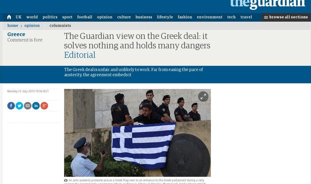 Guardian: ''Η συμφωνία για την Ελλάδα δεν λύνει απολύτως τίποτα - Αφήνει γεύση μνησικακίας & δεν χαλαρώνει τη λιτότητα'' - Κυρίως Φωτογραφία - Gallery - Video