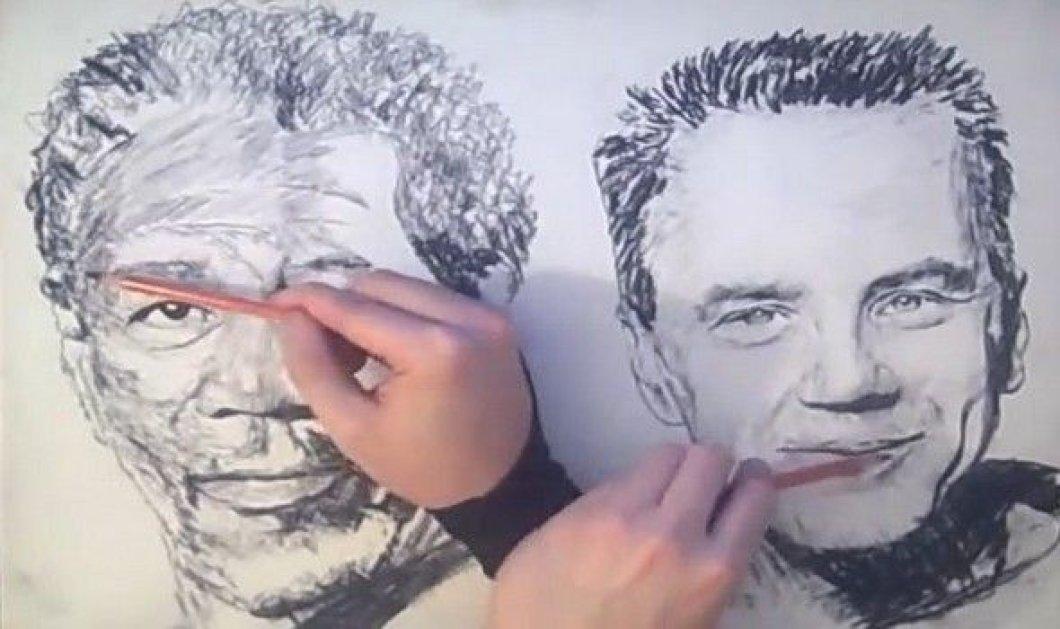 Βίντεο: Ζωγραφίζει ταυτόχρονα και με τα δύο χέρια! Δεν έχετε ξαναδεί κάτι τέτοιο!  - Κυρίως Φωτογραφία - Gallery - Video