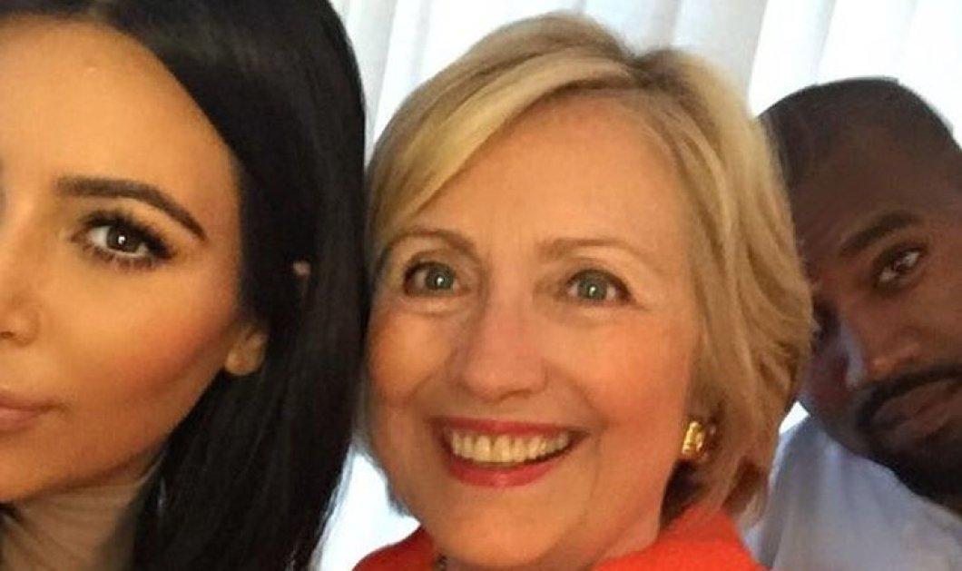 H selfie της ημέρας! Η Χίλαρι Κλίντον με Κιμ Καρντάσιαν ( ναι!) & Κάνιε Γουέστ - το ζεύγος την στηρίζει για Πρόεδρο  - Κυρίως Φωτογραφία - Gallery - Video