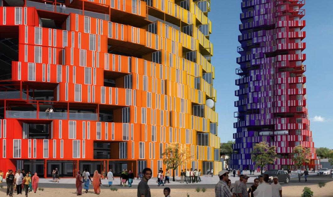 Εργατικές πολυκατοικίες του μέλλοντος; Πολύχρωμοι εντυπωσιακοί ουρανοξύστες από κοντέϊνερς - Κυρίως Φωτογραφία - Gallery - Video