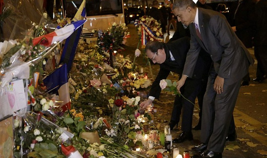 Ένα λουλούδι άφησε για τα θύματα στο Μπατακλάν ο Ομπάμα λίγο πριν τη Σύνοδο για το κλίμα - Κυρίως Φωτογραφία - Gallery - Video