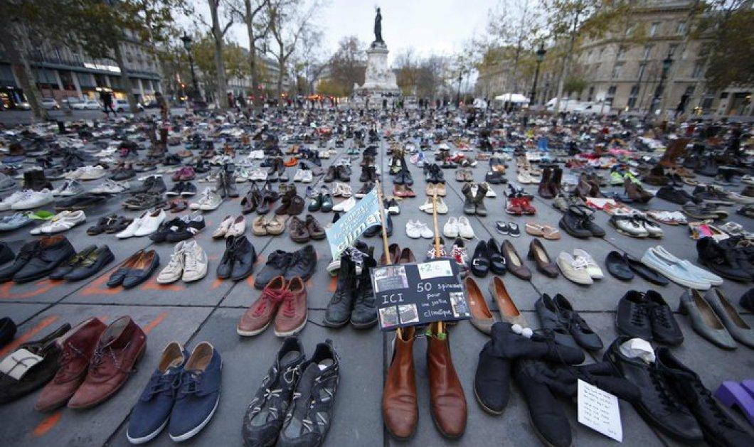 Παρίσι: Κάλυψαν με παπούτσια την Place de la republique οι ακτιβιστές - Σειρά εκδηλώσεων σε όλο τον κόσμο για το περιβάλλον - Κυρίως Φωτογραφία - Gallery - Video