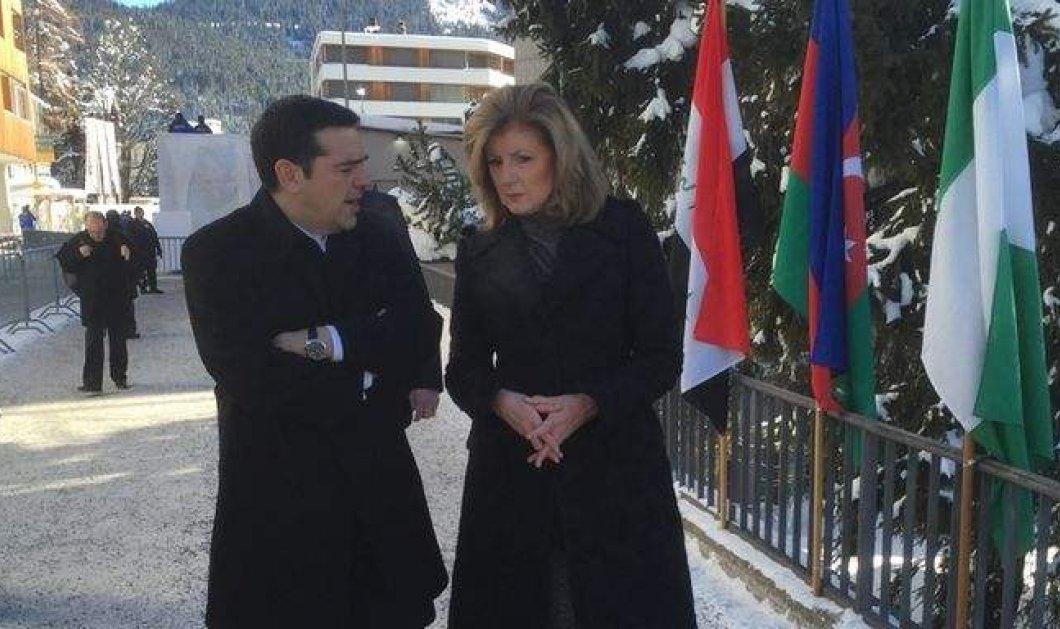 Το τετ-α-τετ του Αλέξη Τσίπρα με την Arianna Huffington στο Νταβός μέσα στο χιόνι (φωτό) - Κυρίως Φωτογραφία - Gallery - Video
