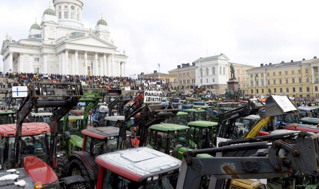 3.000 αγρότες, με πάνω από 600 τρακτέρ, απέκλεισαν το κέντρο του Ελσίνκι (Βίντεο) - Κυρίως Φωτογραφία - Gallery - Video