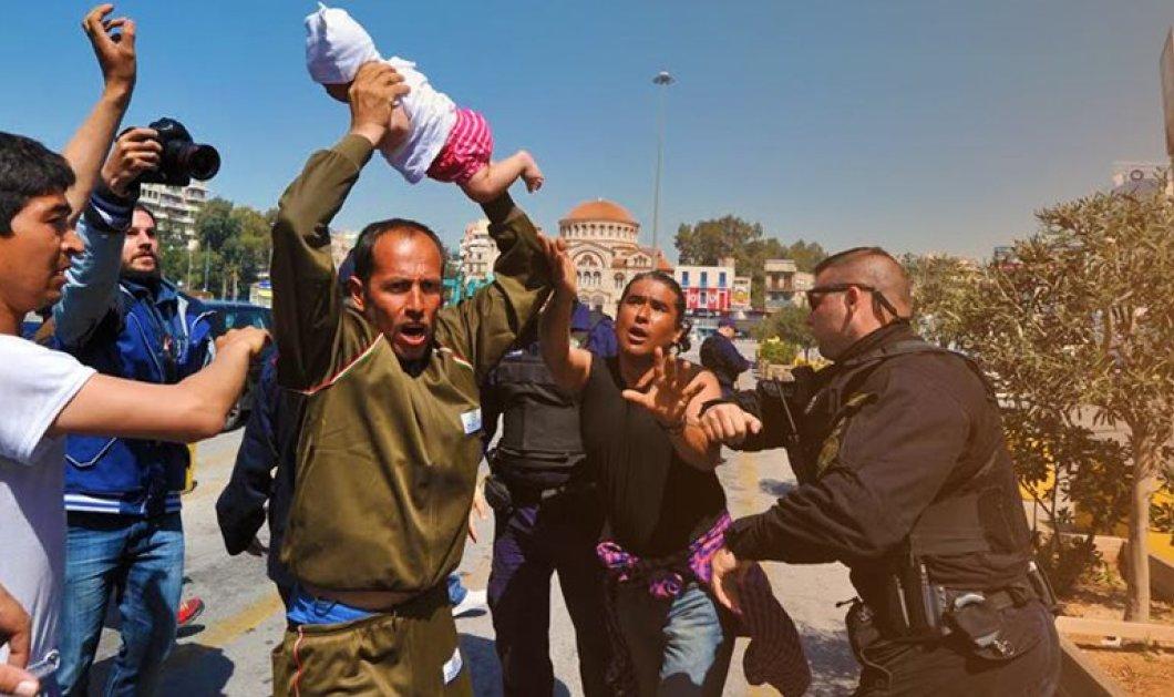 Βίντεο: Πανικός στον Πειραιά:  Μετανάστης απείλησε να πετάξει μωρό - Το άρπαξε από την αγκαλιά της μητέρας του  - Κυρίως Φωτογραφία - Gallery - Video