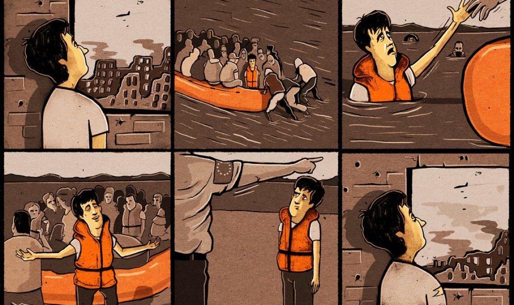 Το σκίτσο της Guardian για τις επαναπροωθήσεις προσφύγων σπάει κόκαλα: Από την κόλαση στον παράδεισο & πίσω - Κυρίως Φωτογραφία - Gallery - Video