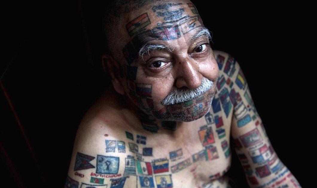76χρονος Ινδός έχει τον ΟΗΕ σε τατουάζ! 366 σημαίες χωρών στο σώμα του  - Κυρίως Φωτογραφία - Gallery - Video