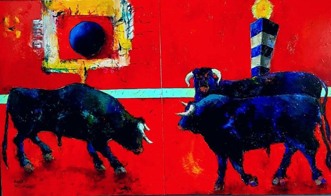 Oι φανταστικοί ταύροι του ζωγράφου μας, Κωστή Γεωργίου - Χρώμα, πάθος, ζωντάνια  - Κυρίως Φωτογραφία - Gallery - Video