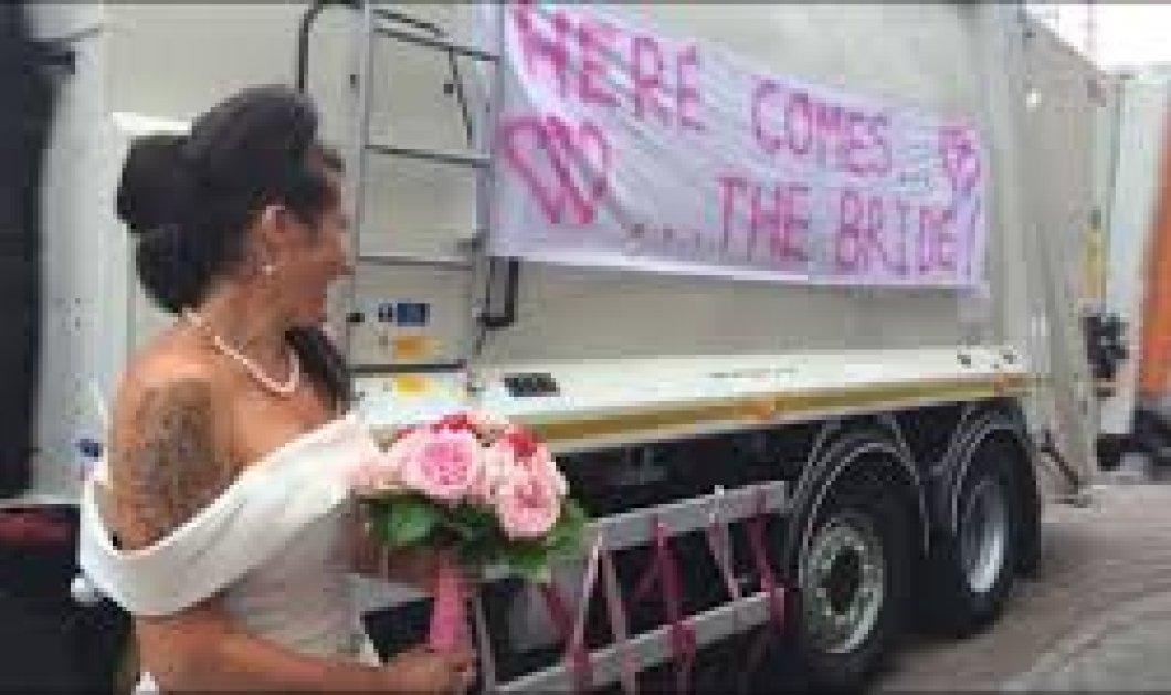 Η νύφη μεγαλοκοπέλα έφτασε στο γάμο της με το... απορριμματοφόρο & έσπασε κάθε κανόνα - Κυρίως Φωτογραφία - Gallery - Video