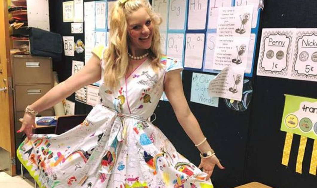 Chris: Mια τυχερή δασκάλα - Τα παιδιά της Α' Δημοτικού έκαναν το λευκό φουστάνι της πίνακα ζωγραφικής - Κυρίως Φωτογραφία - Gallery - Video