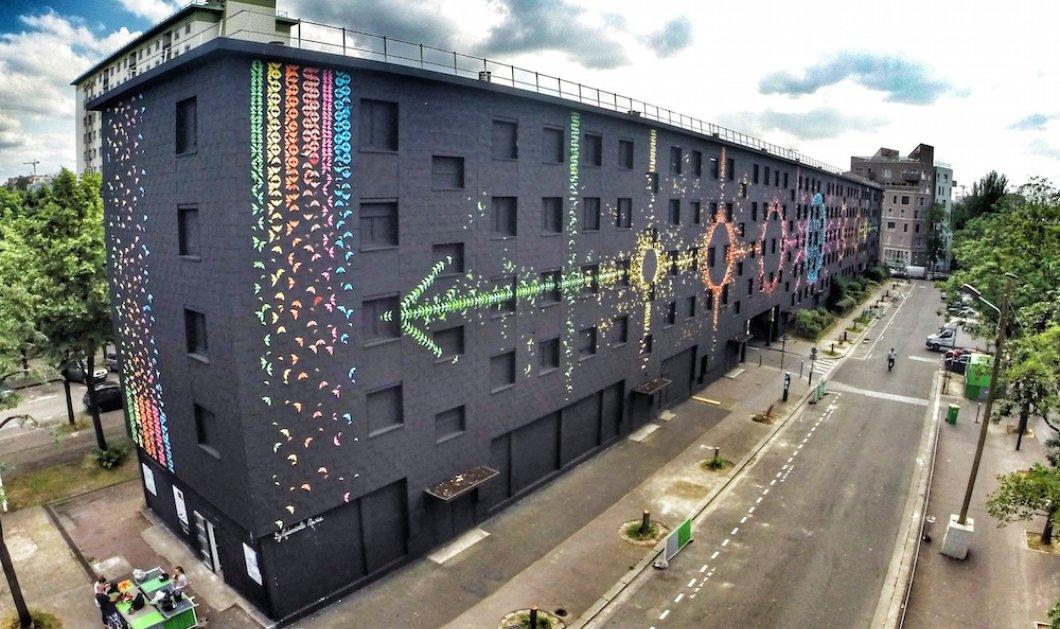 """""""Ο σεληνιακός κύκλος"""": Η Mademoiselle  δημιούργησε μια τοιχογραφία με 15.000 πτηνά οριγκάμι!  - Κυρίως Φωτογραφία - Gallery - Video"""