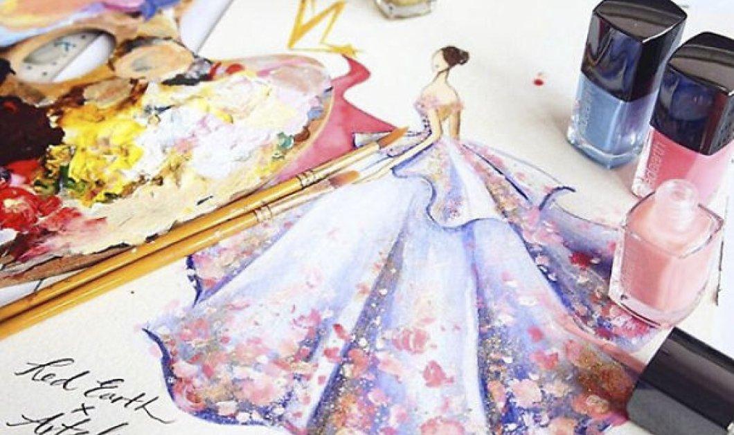 Όταν η μόδα συναντά την τέχνη: Καλλιτέχνιδα δημιουργεί σχέδια για haute couture συνολάκια με βερνίκι νυχιών - Κυρίως Φωτογραφία - Gallery - Video