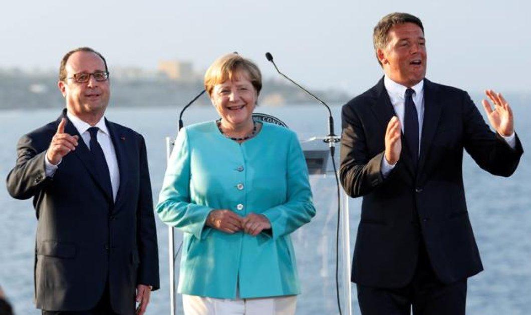 Ρέντσι - Ολάντ - Μέρκελ: Τι είπαν ανησυχώντας για την Ευρώπη στο ρομαντικό νησάκι της Ιταλίας; - Κυρίως Φωτογραφία - Gallery - Video