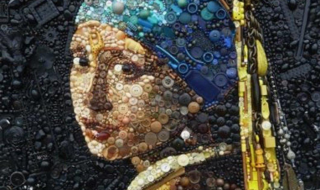 Εκπληκτικά πορτραίτα διασημοτήτων - Πίνακες ζωγραφικής με χάντρες, κουμπιά & μανταλάκια  - Κυρίως Φωτογραφία - Gallery - Video