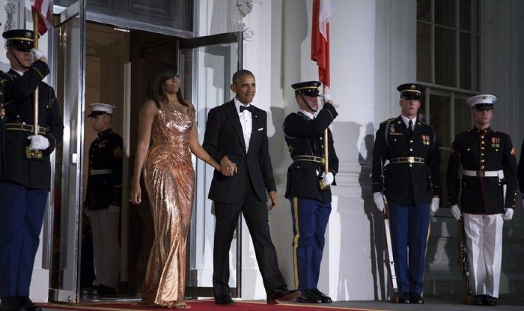 H Μισέλ Ομπάμα στην πιο chic της εμφάνιση: Mε rose gold Versace τουαλέτα στο τελευταίο State Dinner - Κυρίως Φωτογραφία - Gallery - Video