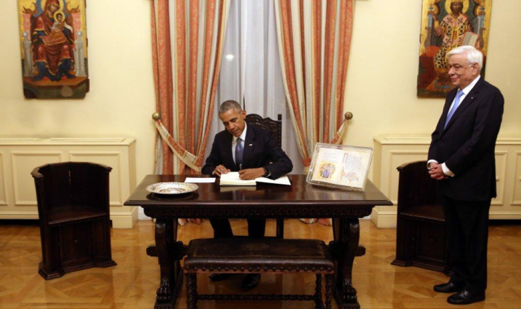 Φωτό: Τι έγραψε στο βιβλίο της Προεδρίας της Δημοκρατίας ο Μπάρακ Ομπάμα μετά το χθεσινό δείπνο - Κυρίως Φωτογραφία - Gallery - Video