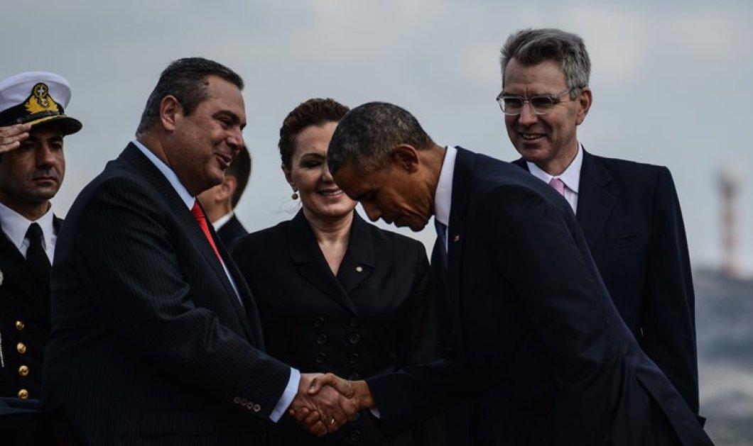 Φωτό: Η υπόκλιση ευγένειας του Μπάρακ Ομπάμα στον Πάνο Καμμένο - Κυρίως Φωτογραφία - Gallery - Video