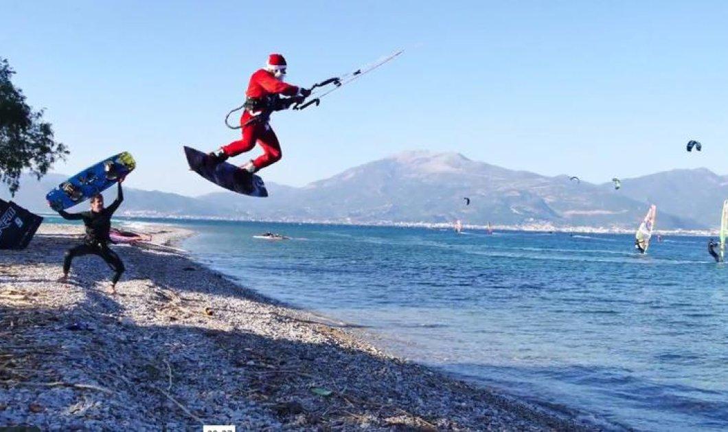 Χριστούγεννα 2016: Ο Αι Βασίλης είναι Πατρινός & τρέχει με 1000 στην θάλασσα με το kite surf του – Video  - Κυρίως Φωτογραφία - Gallery - Video