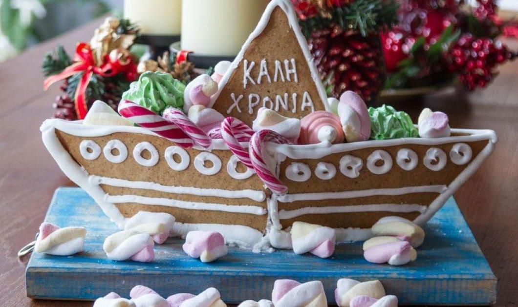 Ένα φανταστικό μπισκοτένιο Χριστουγεννιάτικο καράβι μας δείχνει ο Άκης Πετρετζίκης - Κυρίως Φωτογραφία - Gallery - Video