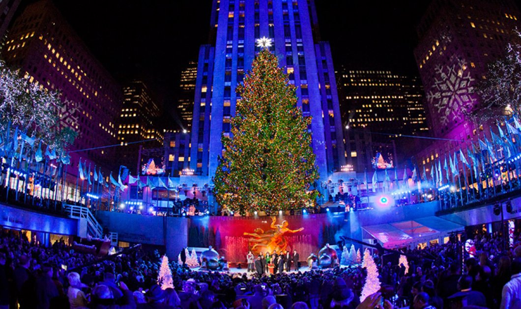Φωταγωγήθηκε το  χριστουγεννιάτικο δένδρο του Rockefeller! Γεμάτο φωτάκια & με αστέρι - Swarovski  250 κιλών - Κυρίως Φωτογραφία - Gallery - Video