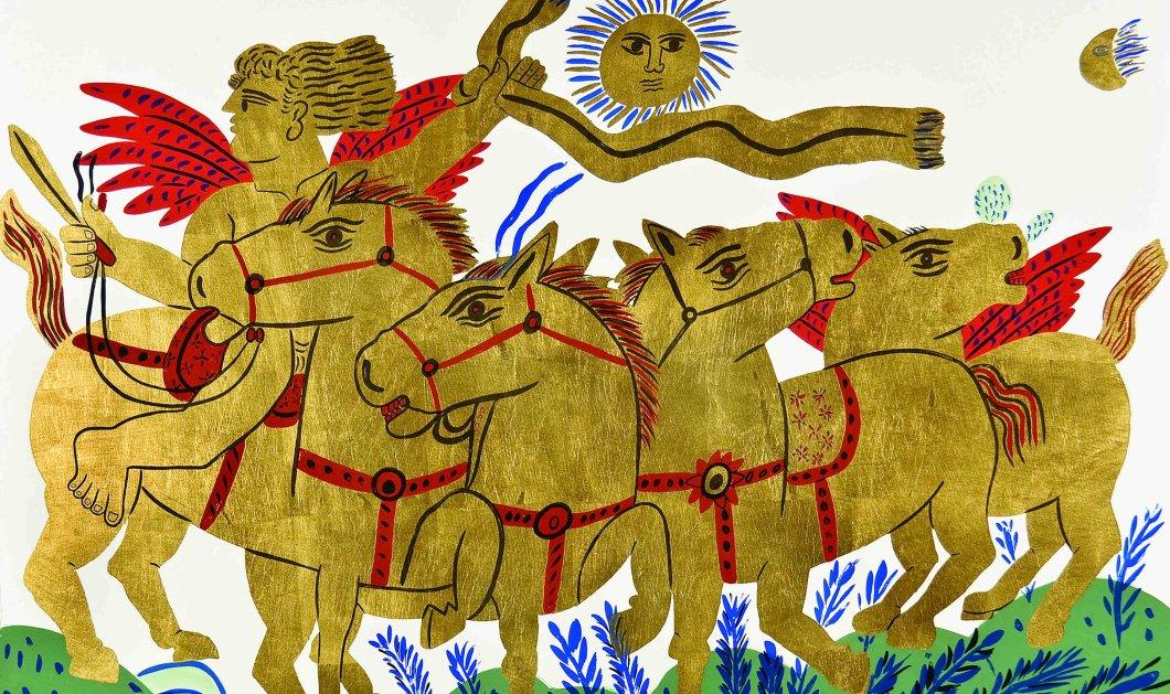 Αλέκος Φασιανός: Εκτυφλωτικοί κόκκινοι, χρυσοί & μπλε ποδηλάτες, ερωτευμένοι με ανοιχτά φτερά, φουλάρια... - Κυρίως Φωτογραφία - Gallery - Video