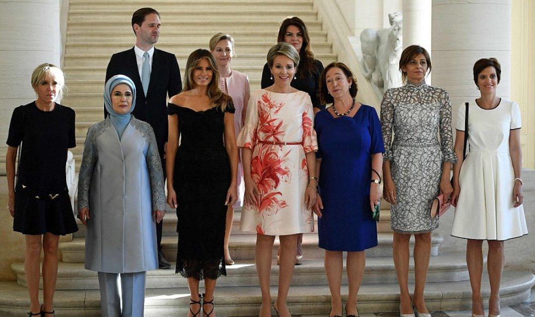 Όλες οι πρώτες κυρίες μαζί: Η Μελάνια με στράπλες δίπλα στην Ερντογάν με μαντίλα & η Μπριζίτ Μακρόν με super Louis Vuitton - Κυρίως Φωτογραφία - Gallery - Video
