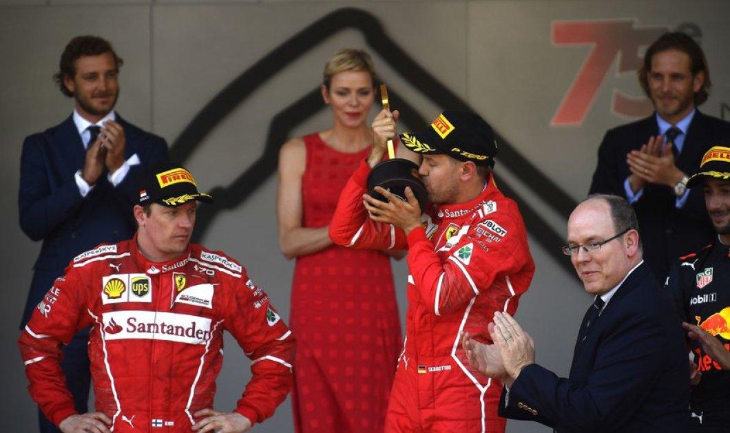 """Ο πρίγκιπας & η πριγκίπισσα του Μονακό σε """"γρήγορα"""" καθήκοντα: Απονομή στον S. Vettel της Formula 1 - Κυρίως Φωτογραφία - Gallery - Video"""