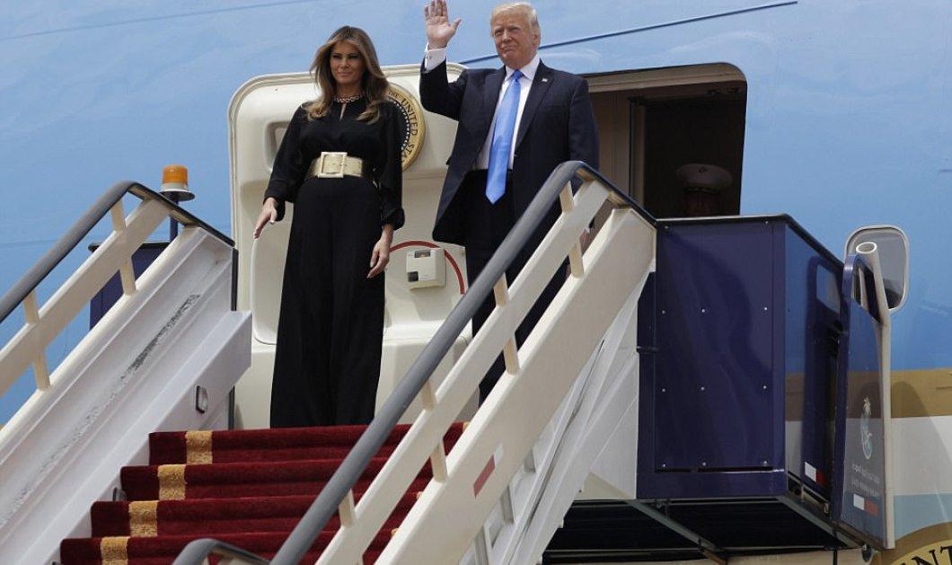 Φωτό - Βίντεο: Η άφιξη του ζεύγους Τραμπ στη Σ.Αραβία - Εντυπωσιακή Μελάνια με χρυσή ζώνη & μαύρο jumpsuit - Κυρίως Φωτογραφία - Gallery - Video
