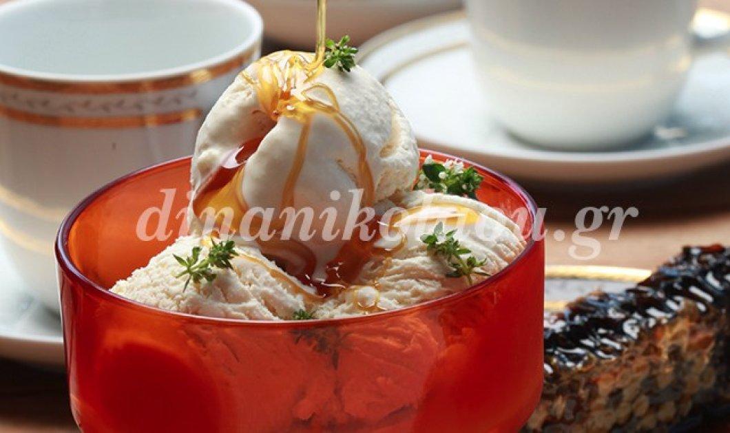 Θαυμάσιο παγωτό με ανθότυρο μέλι & φύλλα δυόσμου από τη Ντίνα Νικολάου - Κυρίως Φωτογραφία - Gallery - Video