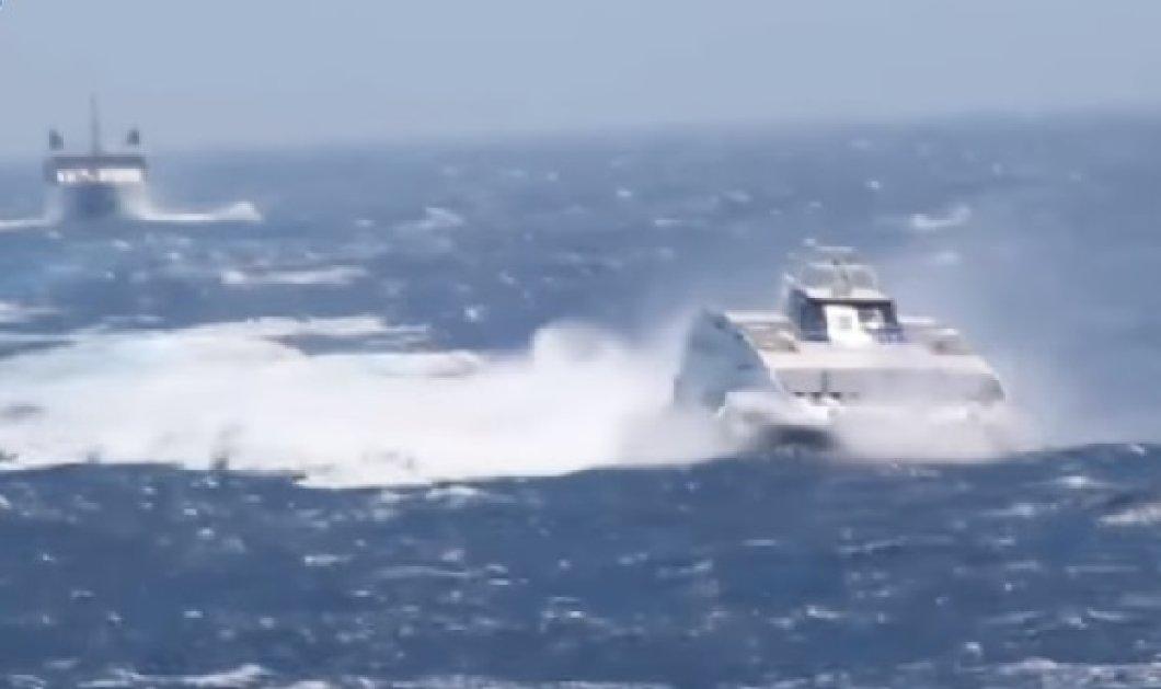 Φολέγανδρος - Βίντεο που κόβει την ανάσα: Δυο πλοία έδωσαν «μάχη» με τα κύματα - Κυρίως Φωτογραφία - Gallery - Video