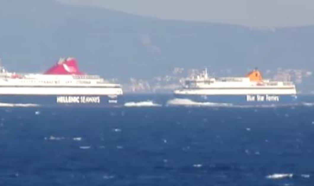 Βίντεο: Blue Star Naxos και Nissos Mykonos «σε υπέροχες κόντρες » στο Αιγαίο - Κυρίως Φωτογραφία - Gallery - Video