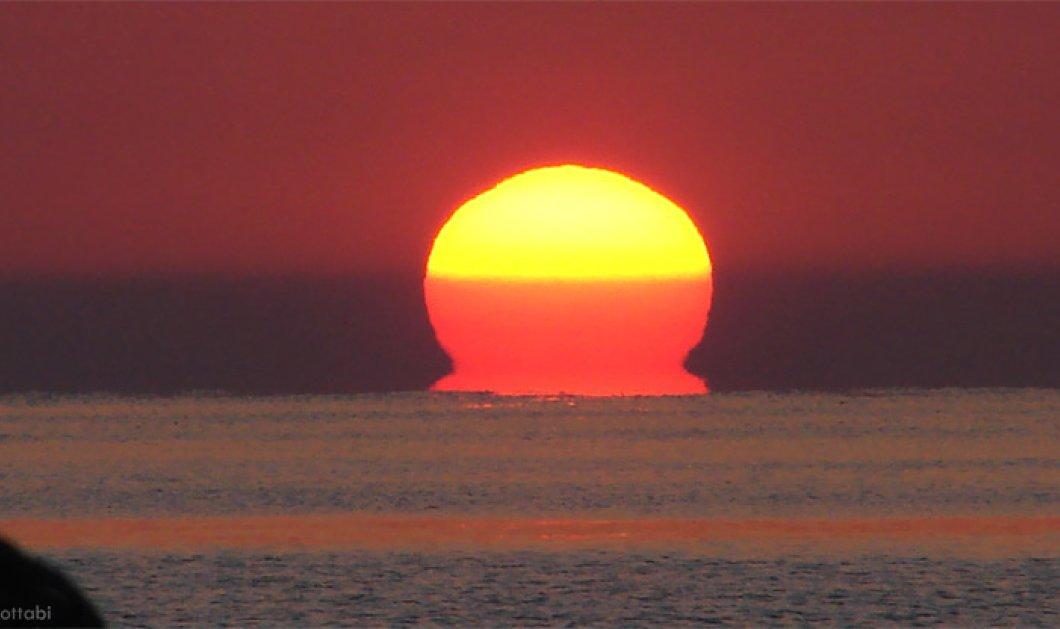 Ήλιος-ωμέγα: ένα συναρπαστικό φαινόμενο με το γράμμα της Ελληνικής αλφαβήτου στην βάση του δειλινού – φωτό - Κυρίως Φωτογραφία - Gallery - Video