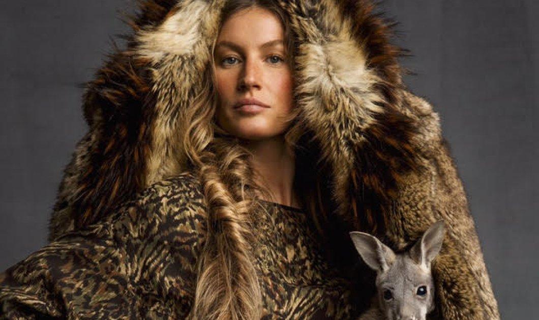 Η Ζιζέλ με αληθινά ζώα και ψεύτικες γούνες  εκπληκτικό φωτορεπορτάζ στη  Vogue - Κυρίως Φωτογραφία e6e2964f174