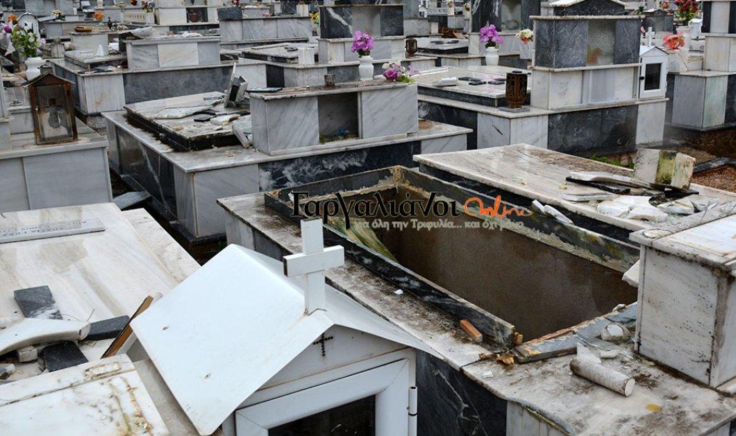 Ανεμοστρόβιλος στους Γαργαλιάνους άνοιξε τους τάφους στο νεκροταφείο (ΦΩΤΟ-ΒΙΝΤΕΟ) - Κυρίως Φωτογραφία - Gallery - Video