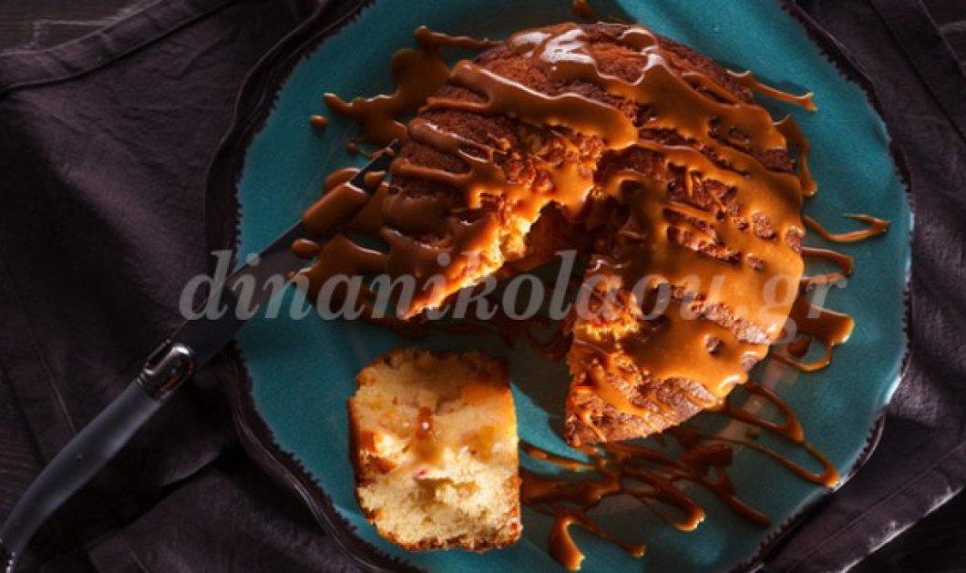 Κέικ «κόλαση» με φυστικοβούτυρο, μήλο και σάλτσα αλατισμένης καραμέλας από τη Ντίνα Νικολάου - Κυρίως Φωτογραφία - Gallery - Video