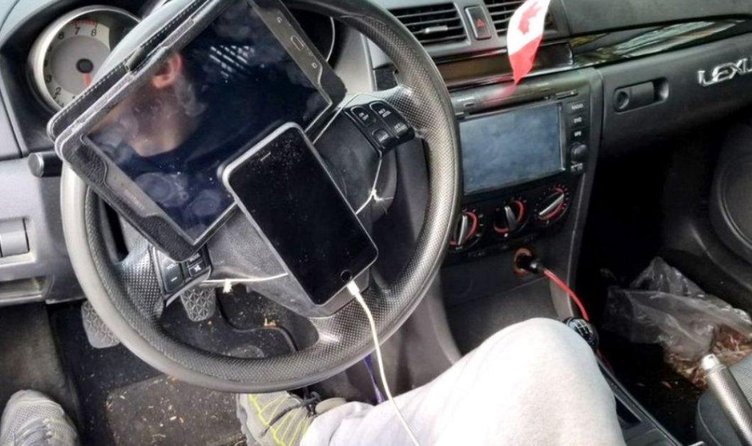 Αυτός με ξεπέρασε !!!χαχα Τον συνέλαβαν να οδηγεί με κινητό και τάμπλετ κολλημένα στο τιμόνι - Κυρίως Φωτογραφία - Gallery - Video