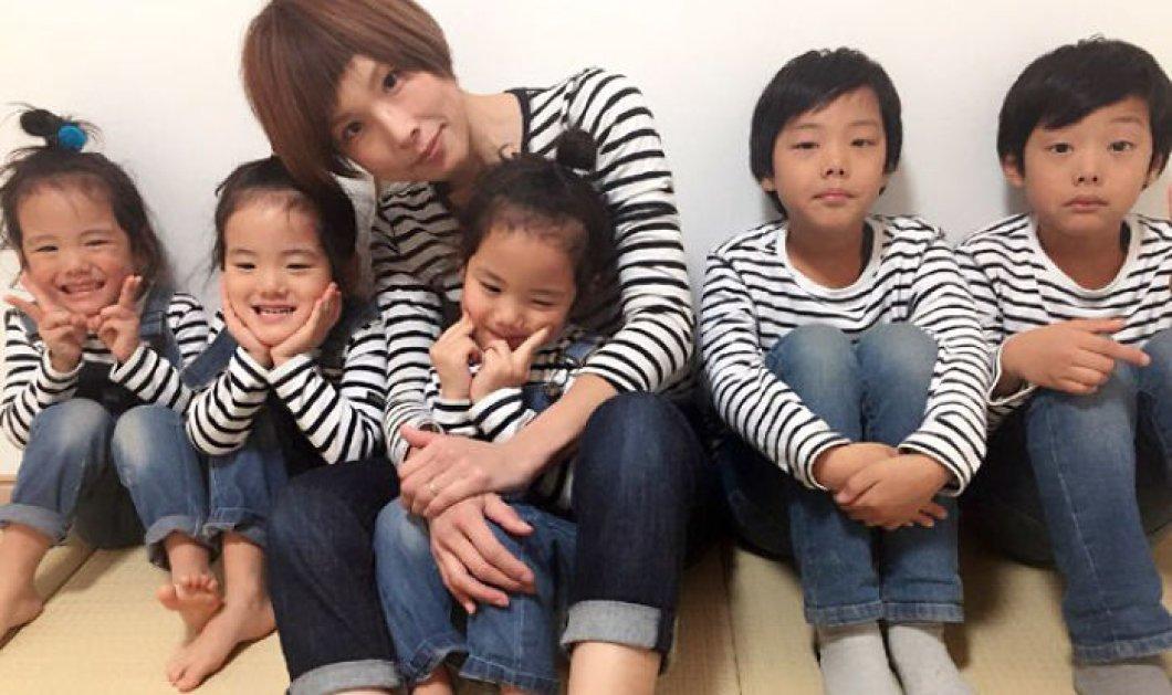 Μοντέρνα γιαπωνέζα μανούλα φωτογραφίζει τα τριχαριτωμένα 3ιδυμα κοριτσάκια & δίδυμα αγόρια της - ΦΩΤΟ - Κυρίως Φωτογραφία - Gallery - Video