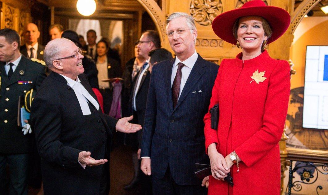 Η βασίλισσα Ματίλντ του Βελγίου έβαλε τόσο μεγάλο κόκκινο καπέλο που έκρυψε και τον βασιλιά- Οι περιπέτειες στον Καναδά! - Κυρίως Φωτογραφία - Gallery - Video